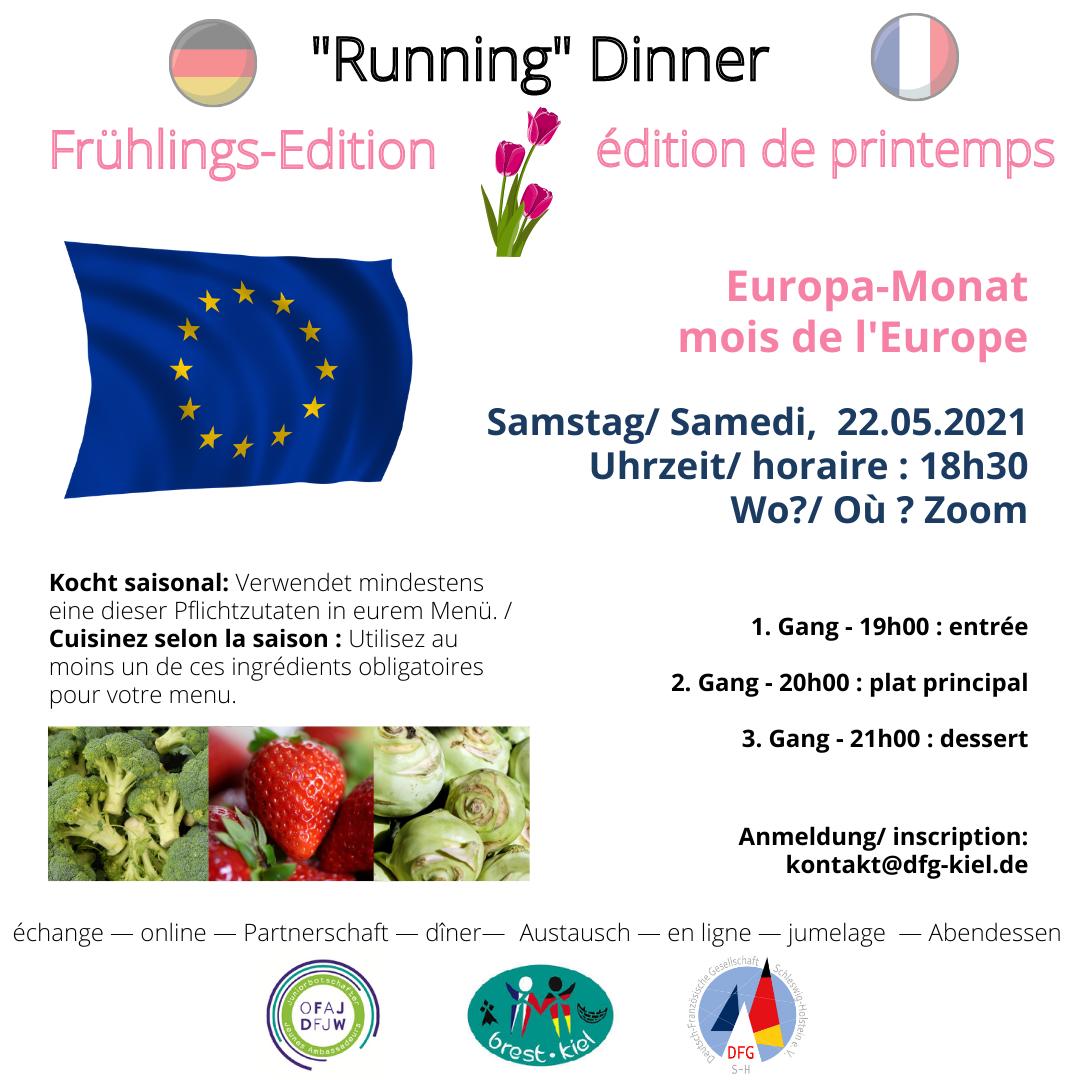 """Online """"Running"""" Dinner - édition printemps im Europamonat Mai"""